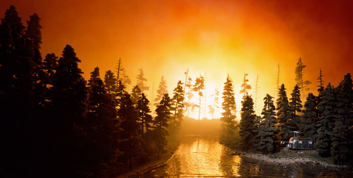 Lori Nix, California Forest Fire, 2002