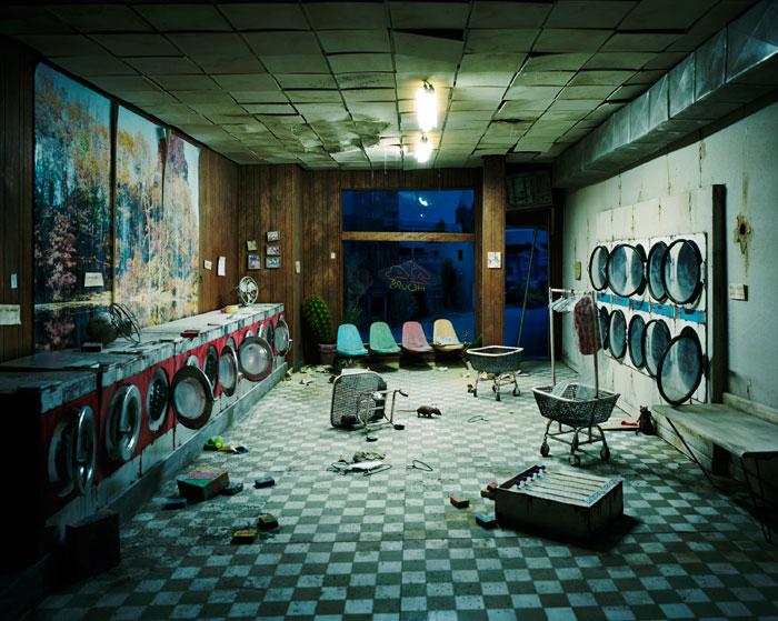 Lori Nix, Laundromat at Night, 2008