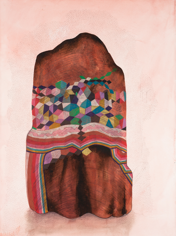 Gala Bent, Painted Rock, 2014, graphite and ink on paper, 30 x 22 inches, framed, $2,400.