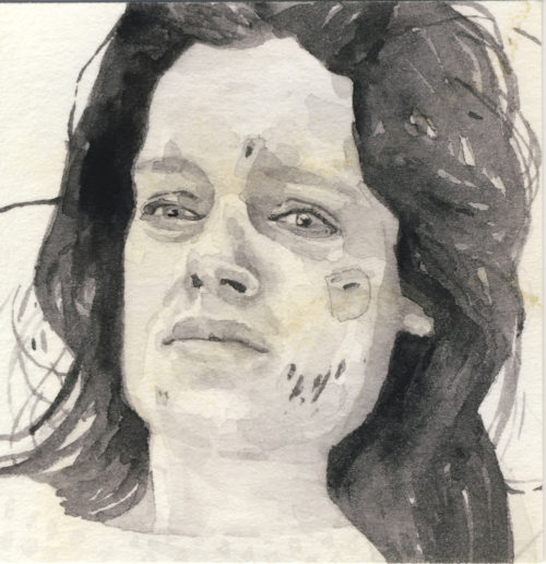 Samantha Scherer, 02-028, 2007, watercolor on stained paper, 2.5 x 2.5 inches