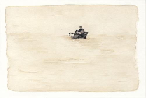 Samantha Scherer, Floodplains (xviii), 2008, watercolor on paper, 4 x 6 inches, framed, $350.