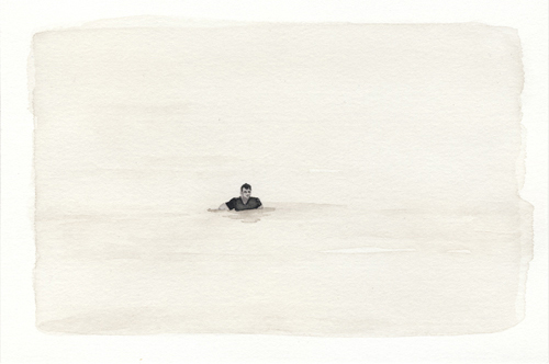 Samantha Scherer, Floodplains (xxviii), 2008, watercolor on paper, 4 x 6 inches, framed, $350.