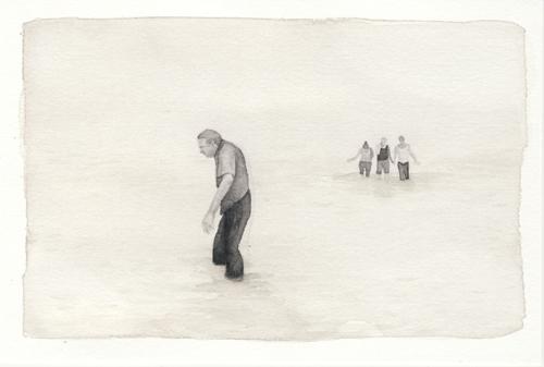 Samantha Scherer, Floodplains (xxx), 2008, watercolor on paper, 4 x 6 inches, framed, $350.