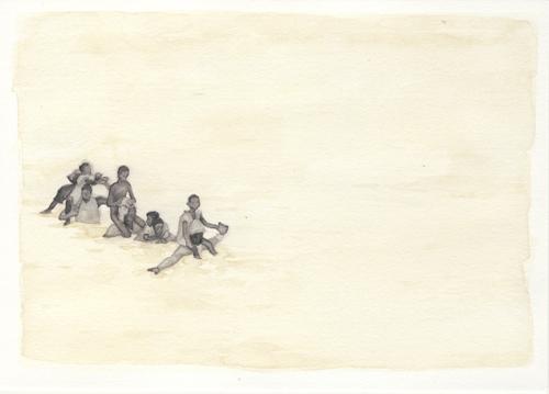 Samantha Scherer, Floodplains (vii), 2008, watercolor on paper, framed, $350.