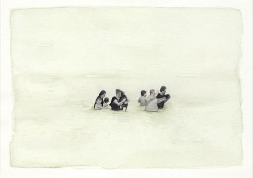 Samantha Scherer, Floodplains (xi), 2008 watercolor on paper, 5 x 7 inches, framed, $350.