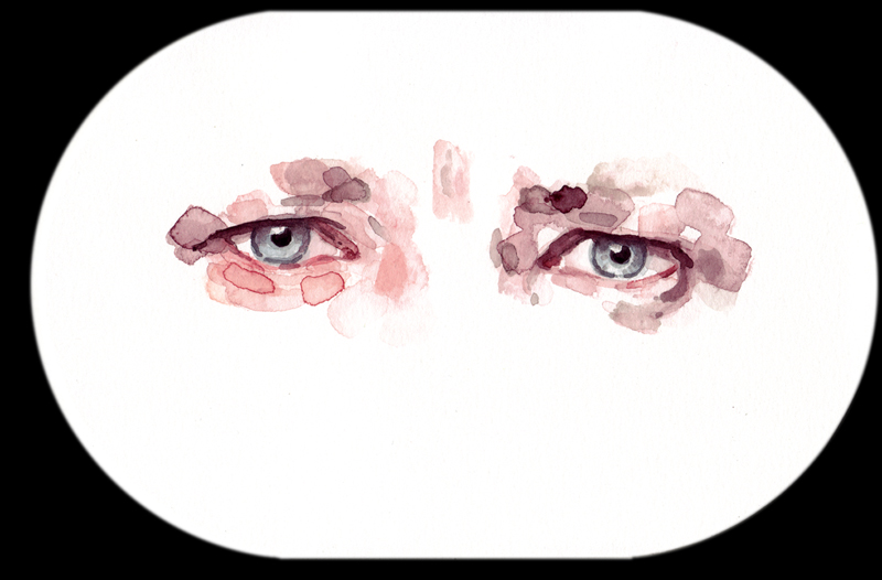 Samantha Scherer, Anderson Cooper, 2006, watercolor on paper, 6 x 9 inches, $350.