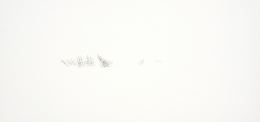 Samantha Scherer, Spectres (I), 2009, watercolor on paper, 10 x 21 inches, $500.