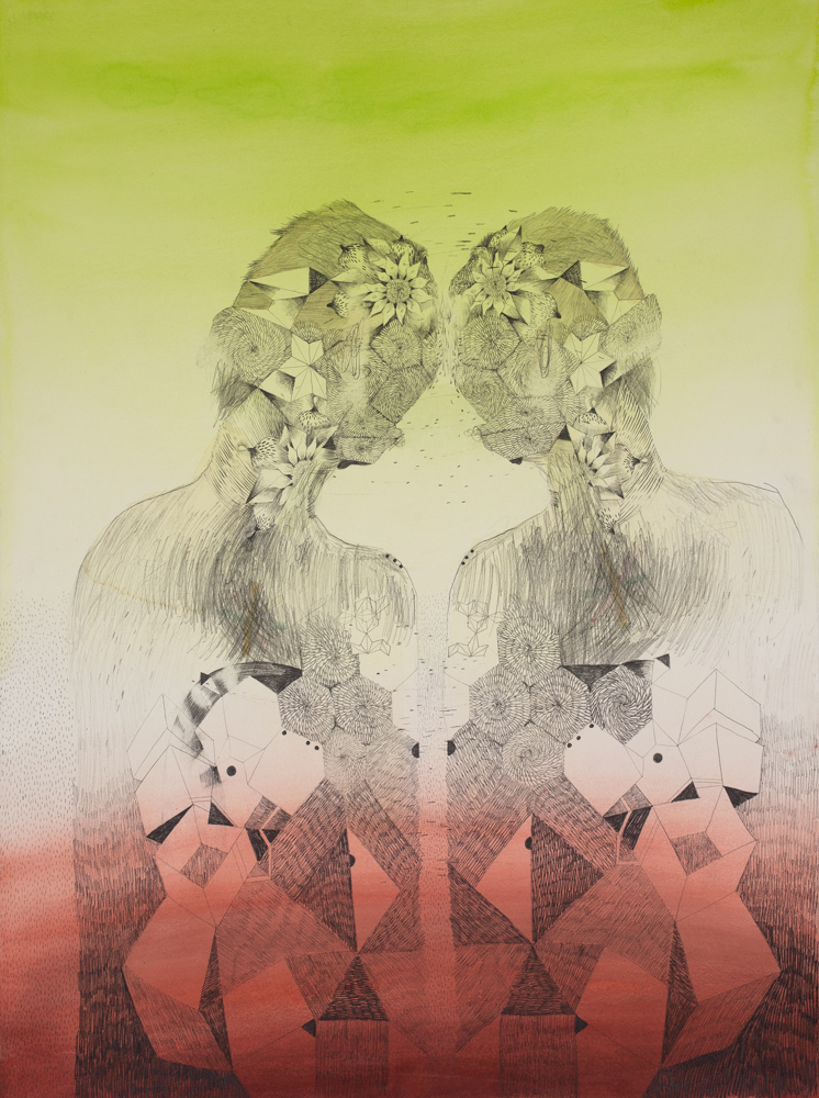 Gala Bent, The Twins, 2015, graphite and ink on paper, 30 x 22 inches, framed, $2,400.