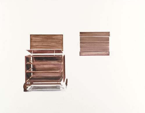 Thuy-Van Vu, Dresser (Museum of Art), 2012 watercolor on paper, 16 x 20 inches, $800.