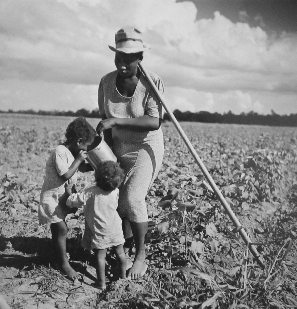 Marion Post Wolcott, Taking a drink and resting from hoeing cotton, Allen Plantation, an FSA project. Natchitoches, Louisiana, 1941, gelatin silver print, 11 x 14 inches, signed by artist, $3000.