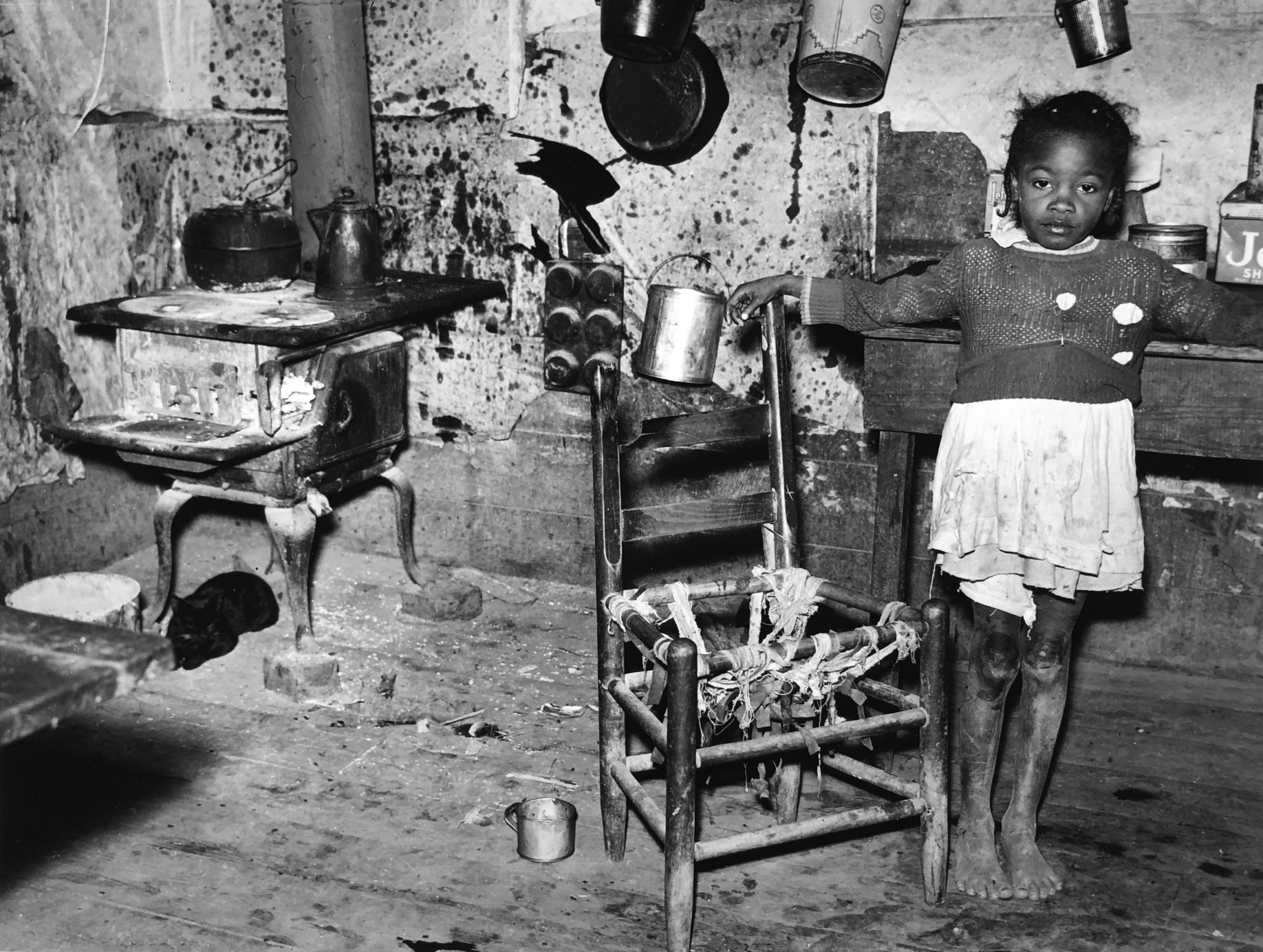 Marion Post Wolcott, Tenant's Daughter in Kitchen of Dilapidated Home, MS, 1939, gelatin silver print, 11 x 14 inches, signed by artist, $3000.