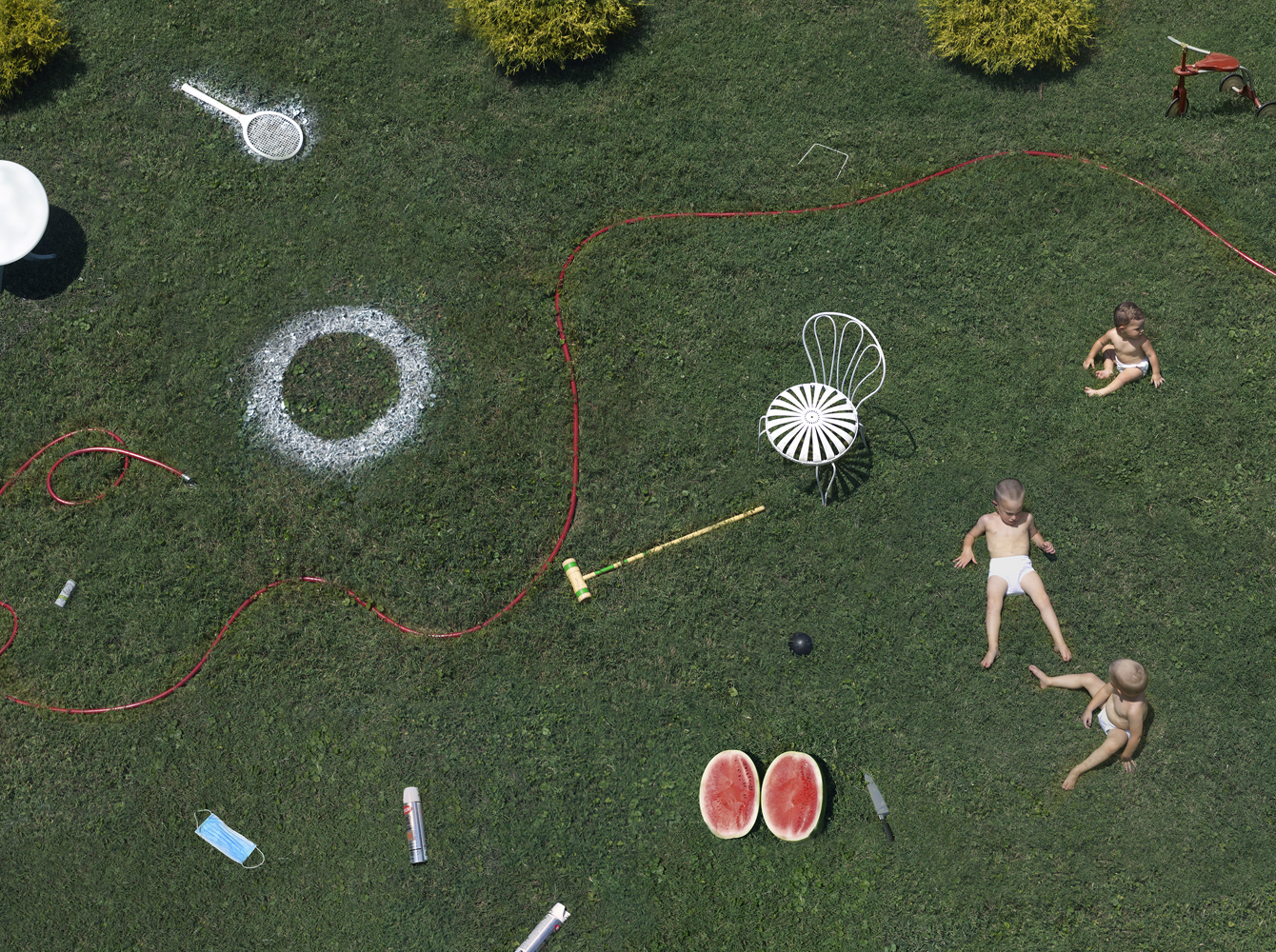 """Julie Blackmon, Spray Paint, 2020, archival pigment print, 26 x 33.5"""", 36 x 46.5"""", 44 x 57.5"""", editions of 7, price on request"""
