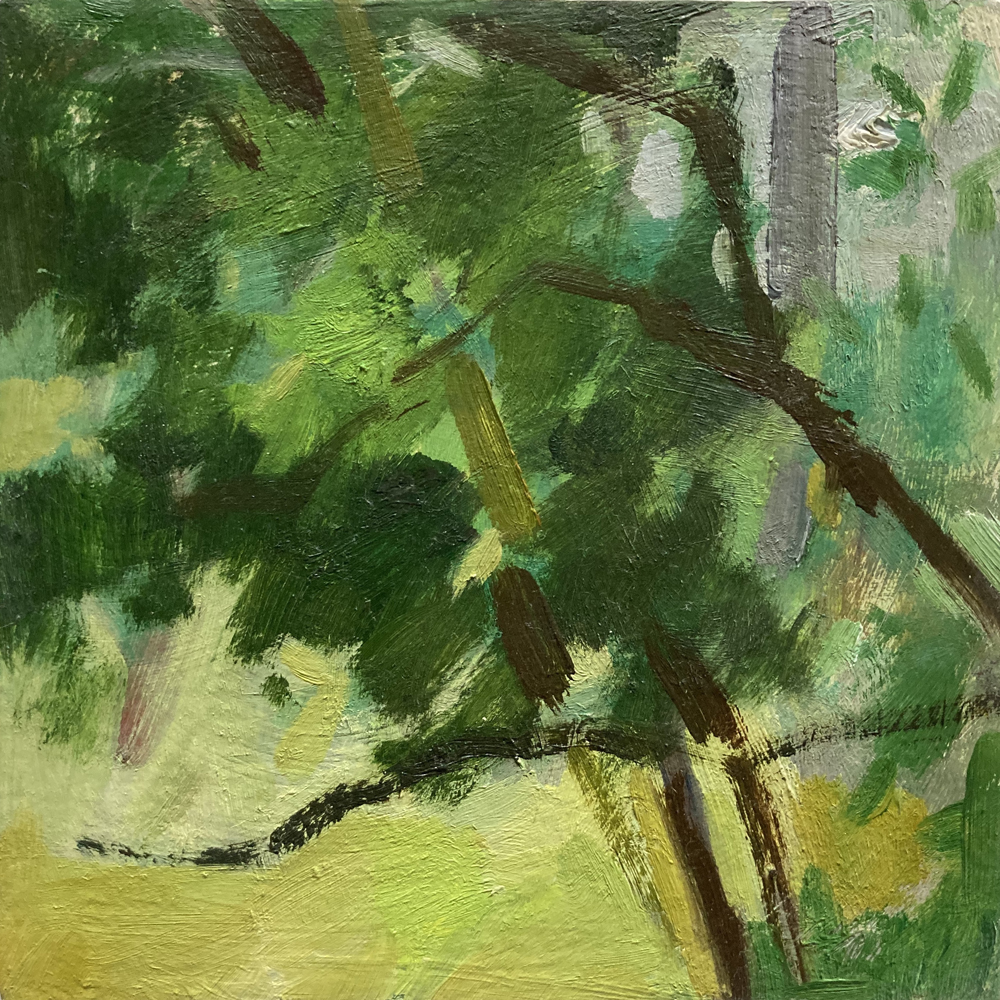 Linda Davidson, Snapshot #57, 2020, oil on linen on panel, 6 x 6 inches, $250.