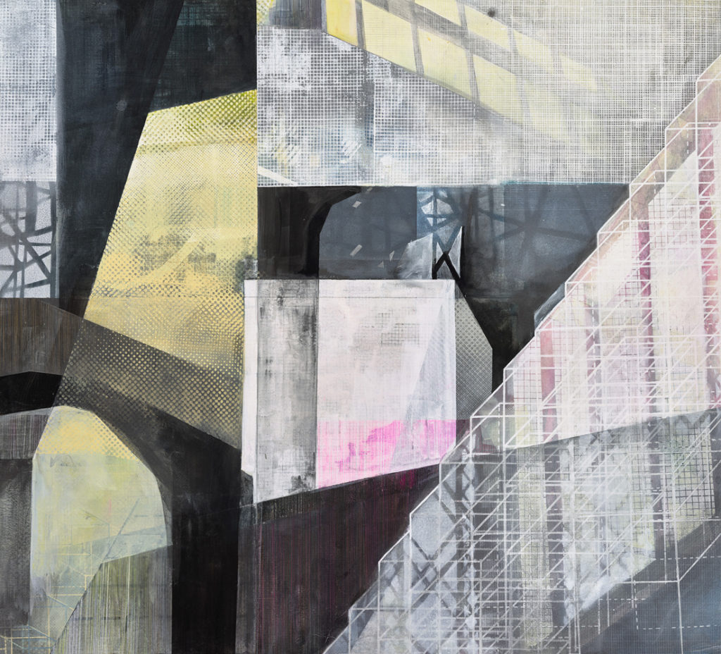 Amanda Knowles, Built Environment, 2020, screen print, graphite, acrylic on paper, 31 x 34.5 inches, $2500.