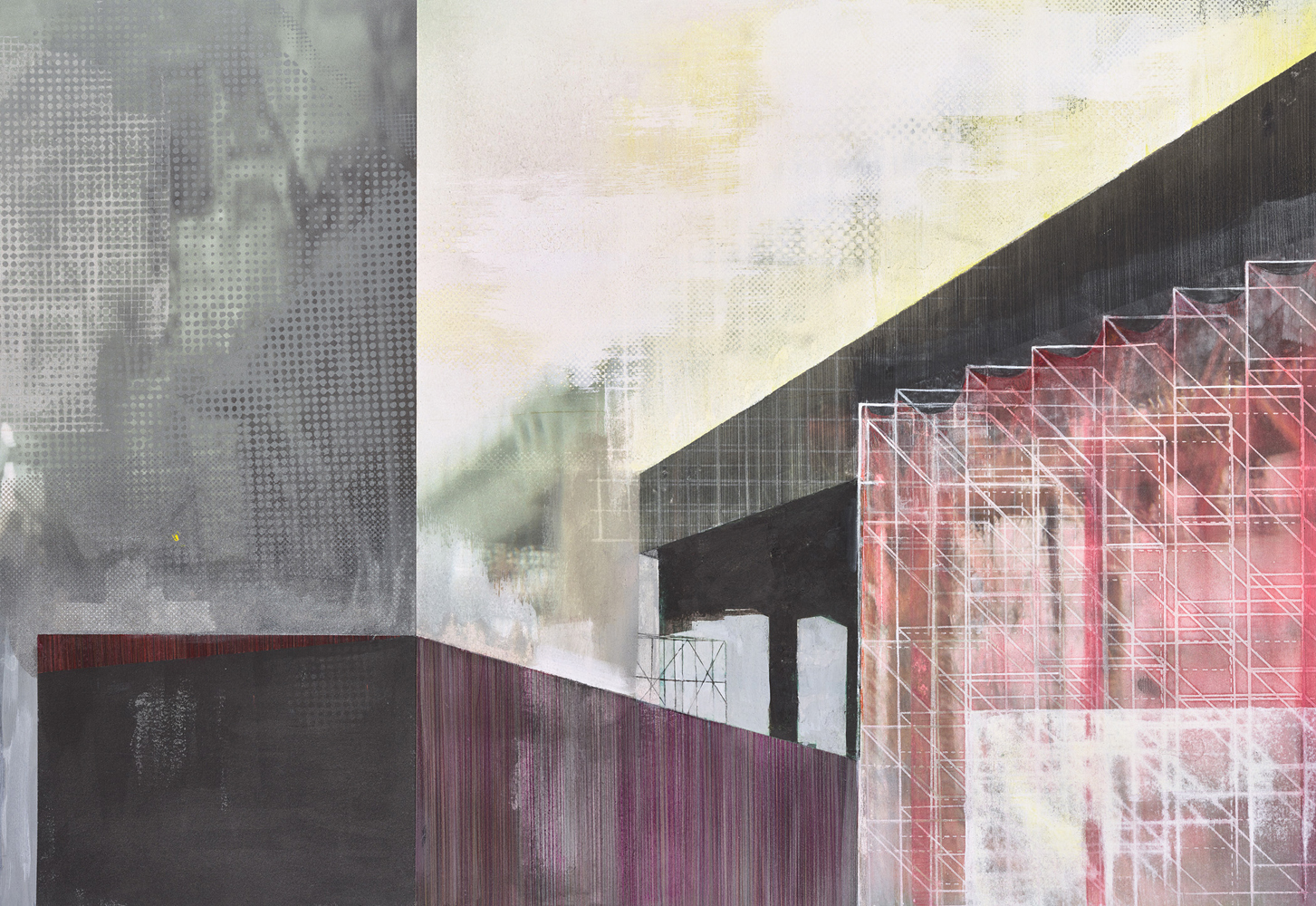 Amanda Knowles, Extension II, 2020, screen print, graphite, acrylic on paper, 20 x 29 inches, $2200.