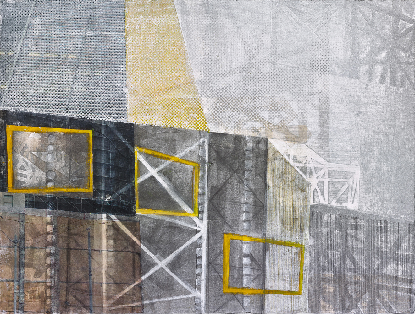 Amanda Knowles, Harbor Ave Construction, 2020, screen print, graphite, acrylic on paper, 11 x 15 inches, $600.
