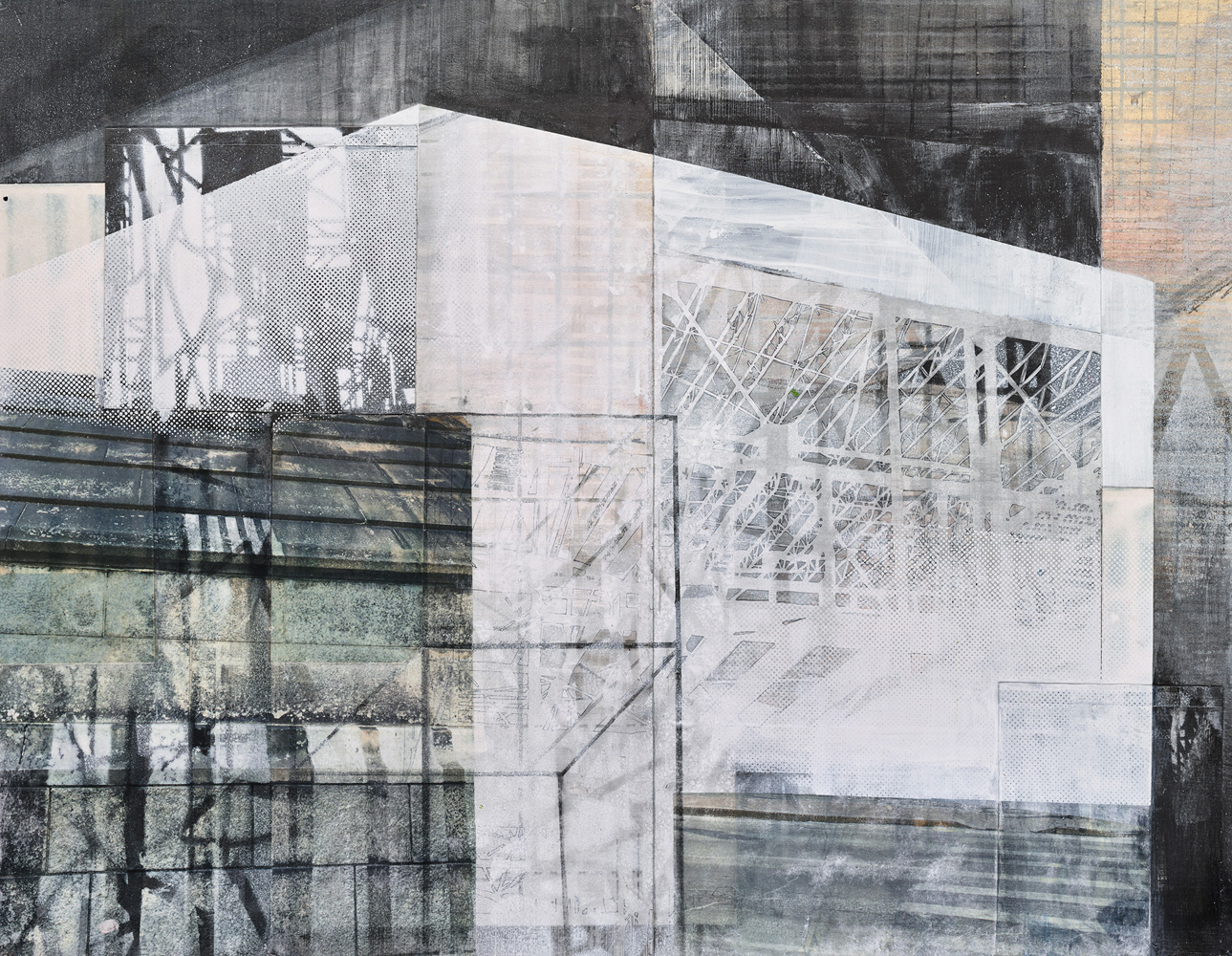 Amanda Knowles, Partial Facade, 2020, screen print, graphite, acrylic on paper, 21.25 x 27.5 inches, $2200.