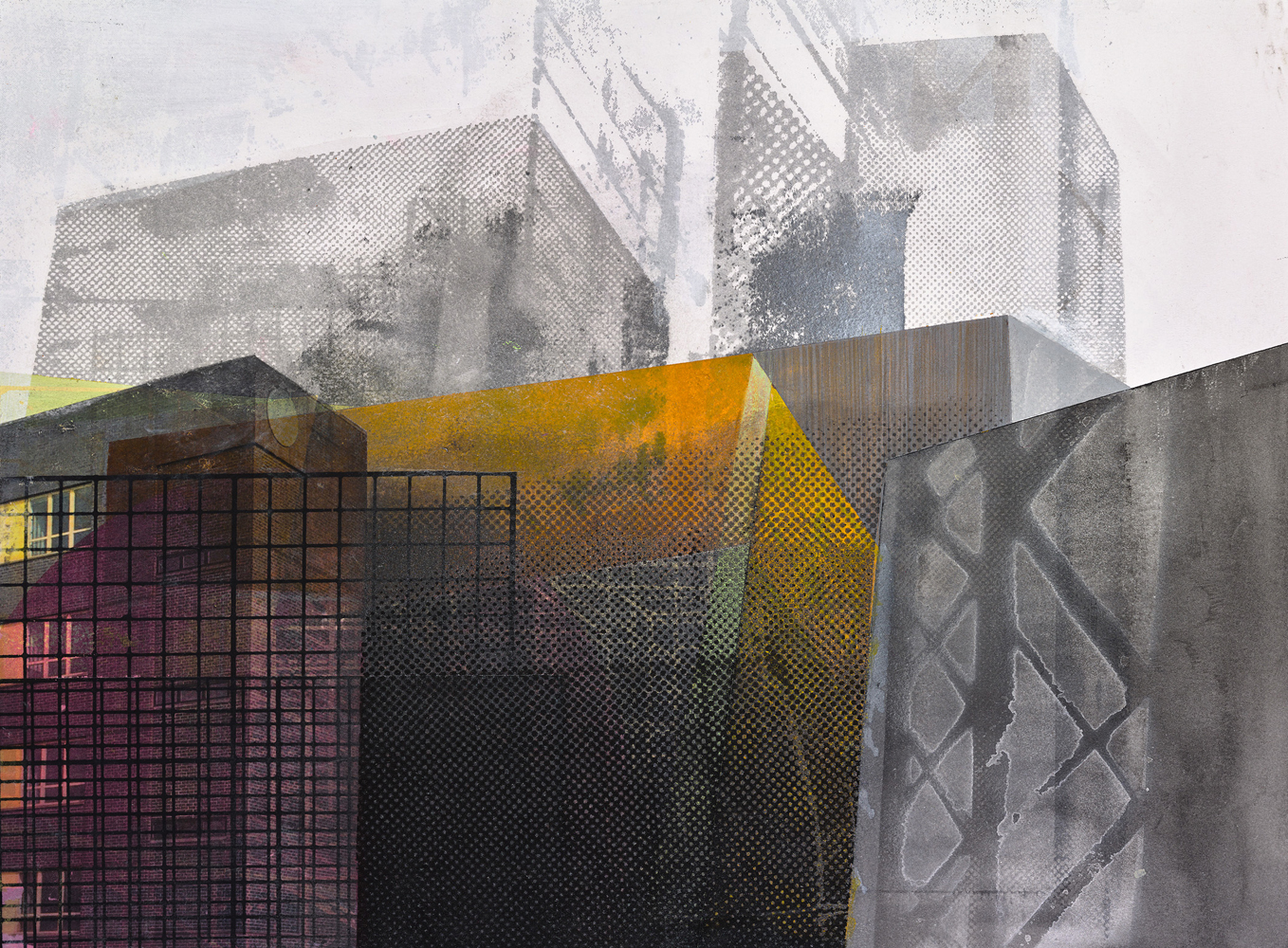 Amanda Knowles, Street View I, 2020, screen print, graphite, acrylic on paper, 11 x 15 inches, $600.