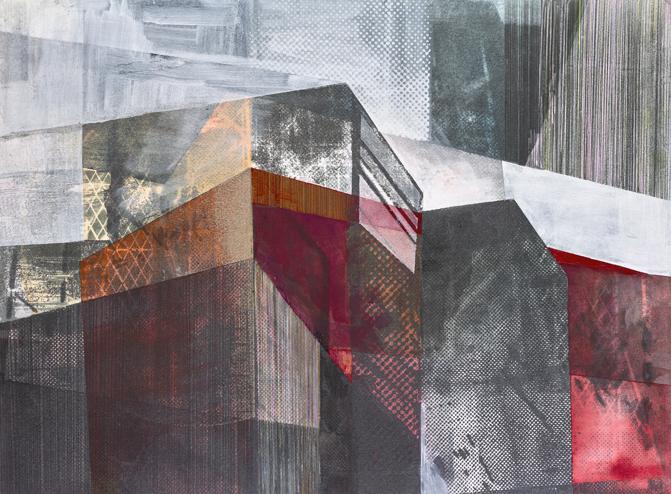 Amanda Knowles, Street View II, 2020, screen print, graphite, acrylic on paper, 11 x 15 inches, $600.