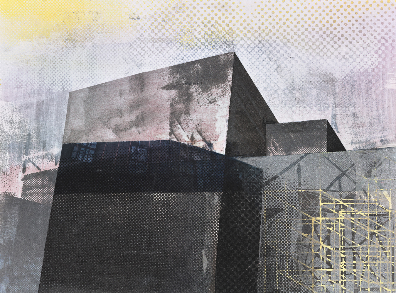 Amanda Knowles, Street View III, 2020, screen print, graphite, acrylic on paper, 11 x 15 inches, $600.