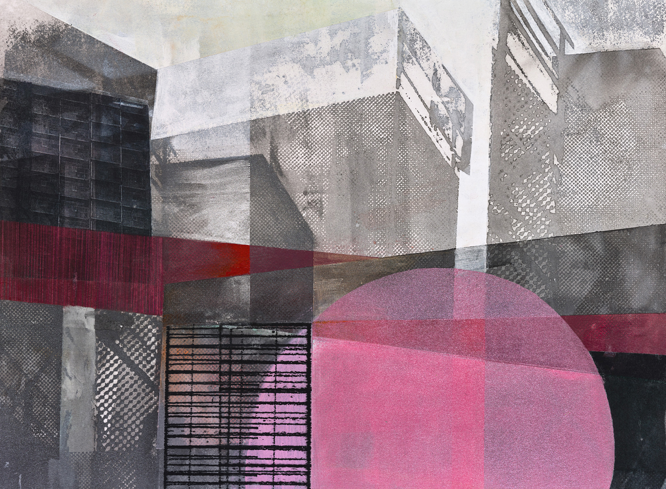 Amanda Knowles, Street View IV, 2020, screen print, graphite, acrylic on paper, 11 x 15, $600.
