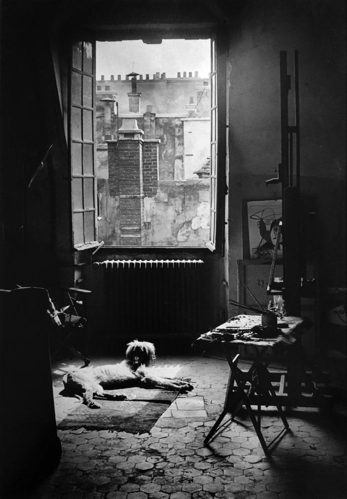 Brassaï, Le Chien Kazbek dans l'Atelier de Picasso, Quai des Grands Augustins, Paris, 1944, gelatin silver print, 15.25 x 10.25 inches, signed and stamped by artist, price on request