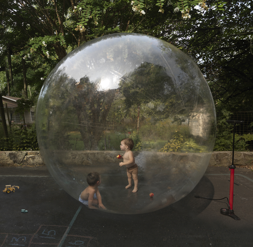 """Julie Blackmon, Bubble, 2020, archival pigment print, 26 x 26"""", 36 x 36"""", 44 x 44"""" / 60 x 60"""", editions of 7, price on request"""