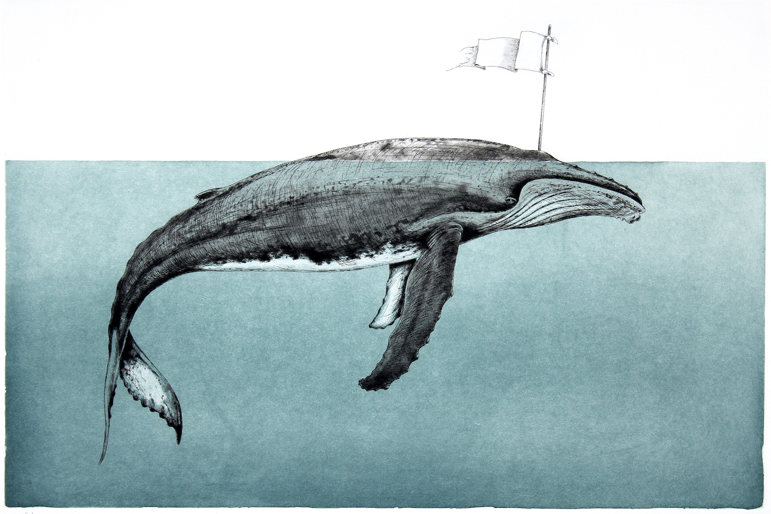 Justin Gibbens, Breach, 2020, hard ground and aquatint etching, 17 x 22 inches, edition of 10, $1000.