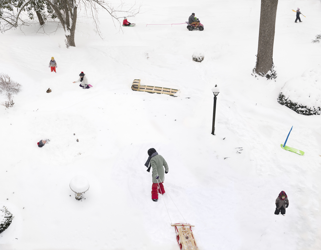 """Julie Blackmon, Snow Days, 2021, archival pigment print, 22 x 28"""", 31.75 x 41"""", 40 x 51.5"""", editions of 7, price on request"""