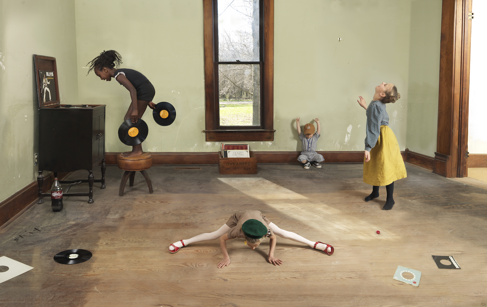 """Julie Blackmon, Records, 2021, archival pigment print, 26"""" x 38.75"""", 35.75"""" x 54.25"""", 44"""" x 67.5"""", editions of 7, price on request"""