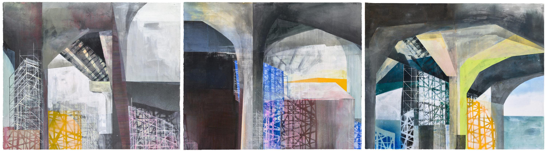 Amanda Knowles, West Seattle Bridge I-III, 2021, screenprint, acrylic, and graphite, 30 x 108 inches (3 @ 30 x 36 inches each), $7500.
