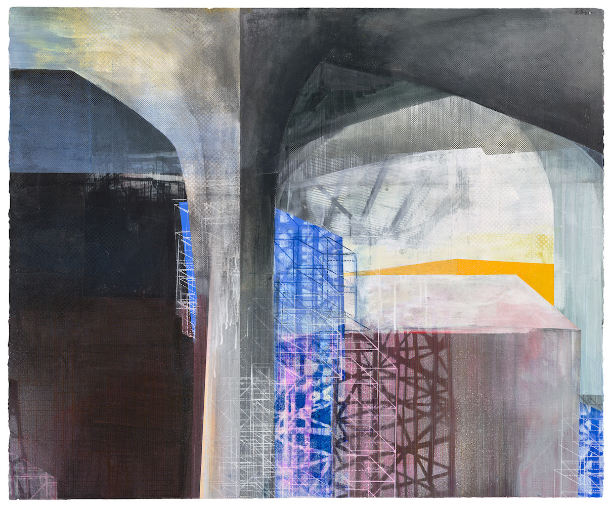 Amanda Knowles, (detail) West Seattle Bridge II, 2021, screenprint, acrylic, and graphite, 30 x 36 inches (#2 of 3 panels)