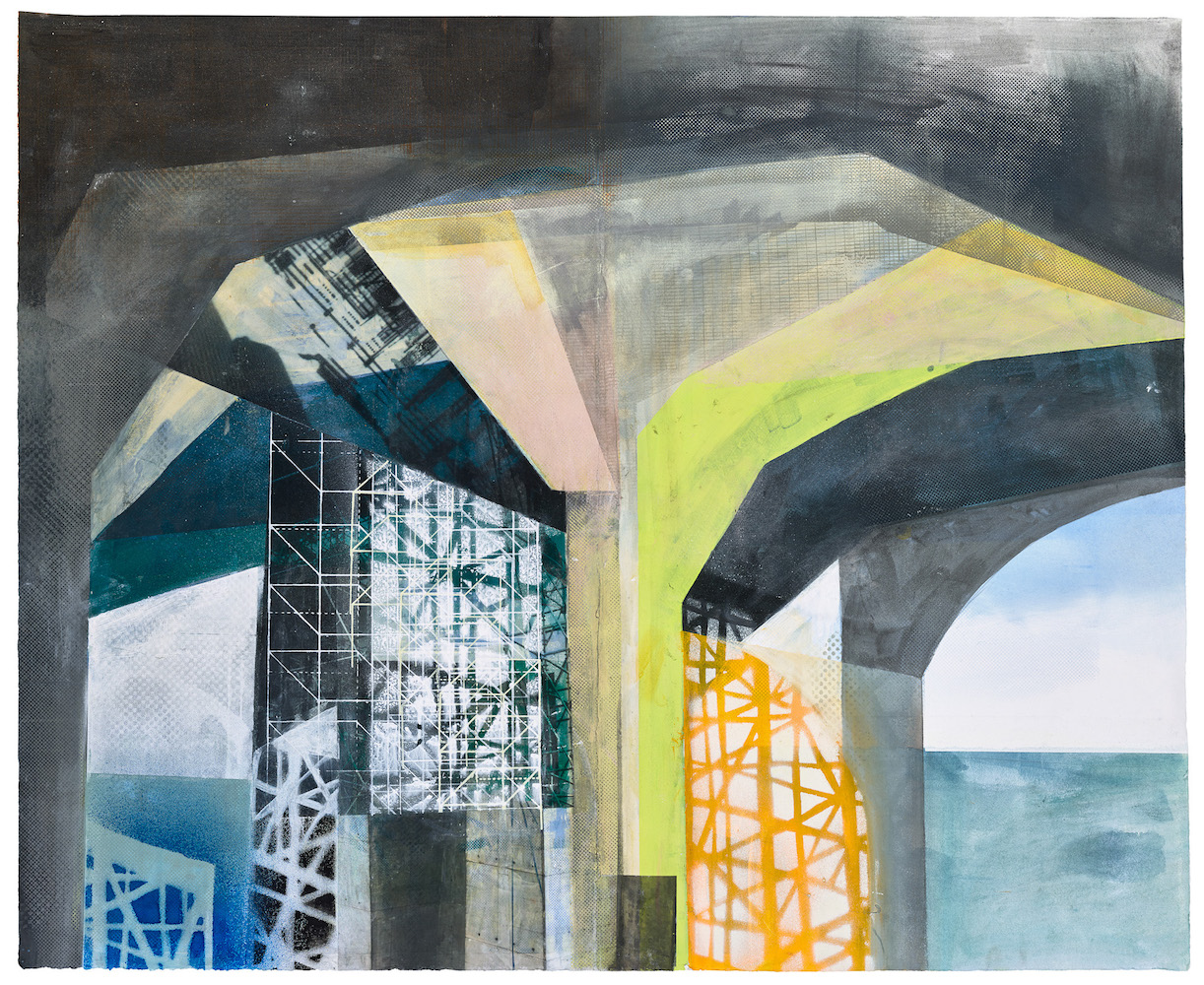 Amanda Knowles, (detail) West Seattle Bridge III, 2021, screenprint, acrylic, and graphite, 30 x 36 inches (#3 of 3 panels)