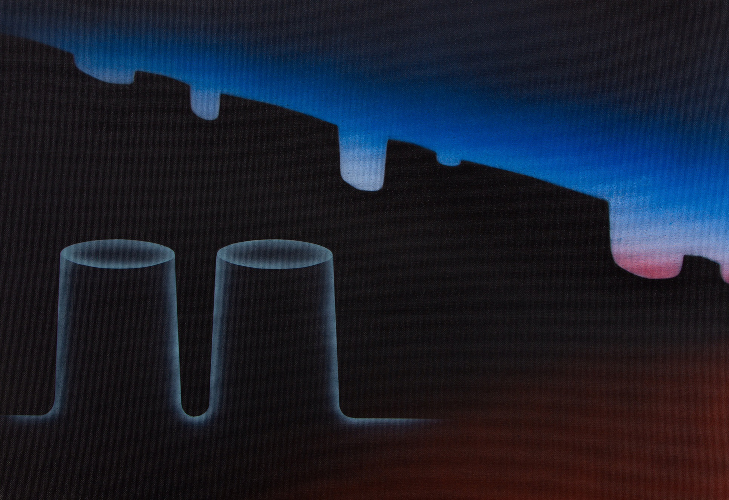 Matt Sellars, Infrastrucure, 2021, acrylic on canvas, 16 x 23 inches, $2000.